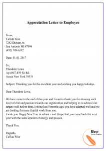 Appreciation Letter to Employee