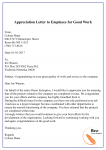 Appreciation Letter to Employee for Good Work