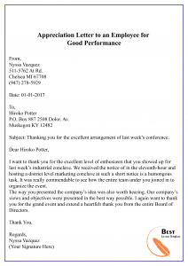 Appreciation Letter to an Employee for Good Performance