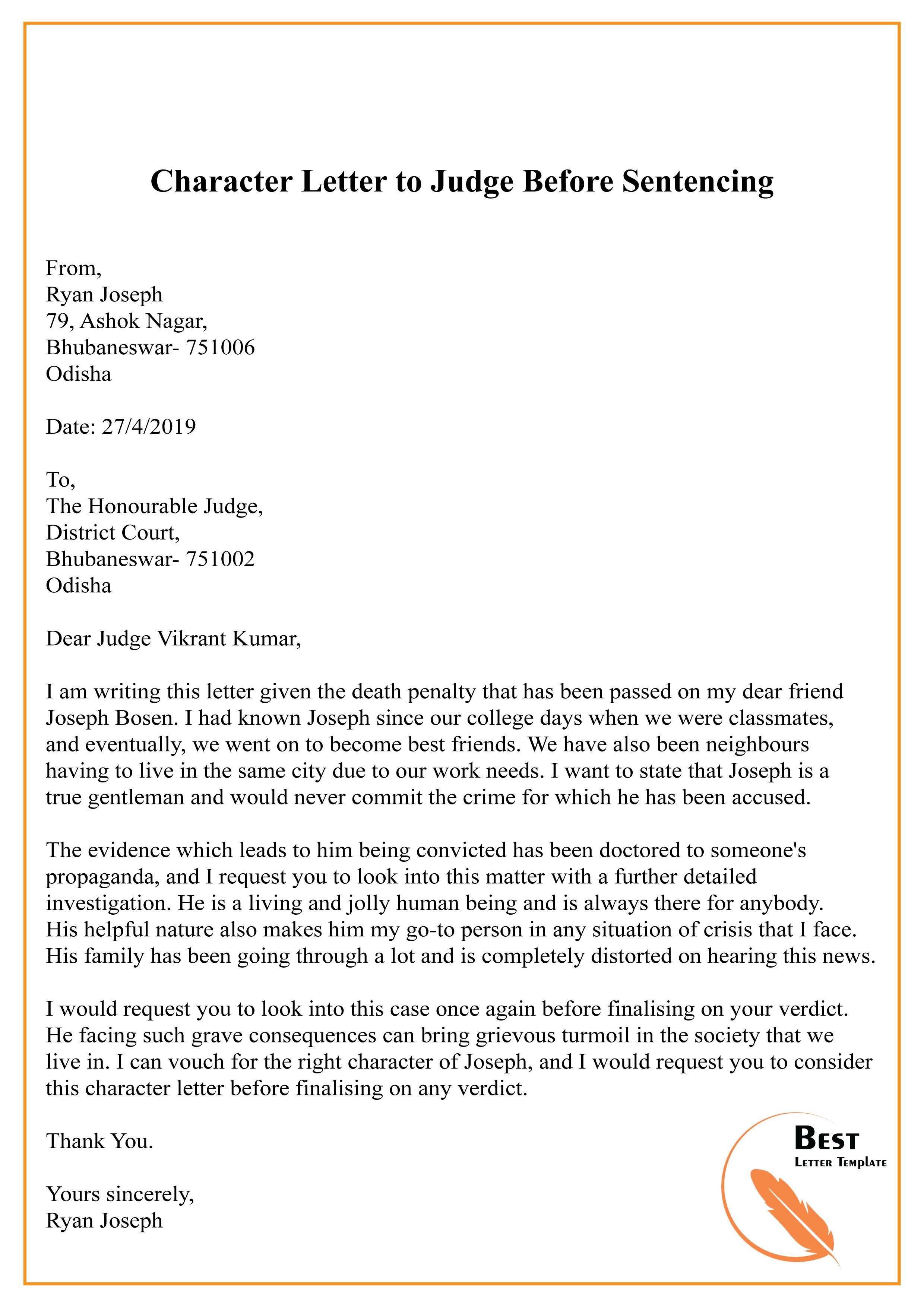 Sample Letter To Judge from bestlettertemplate.com