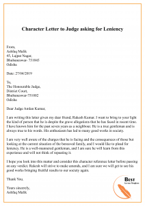 Character Letter to Judge asking for Leniency