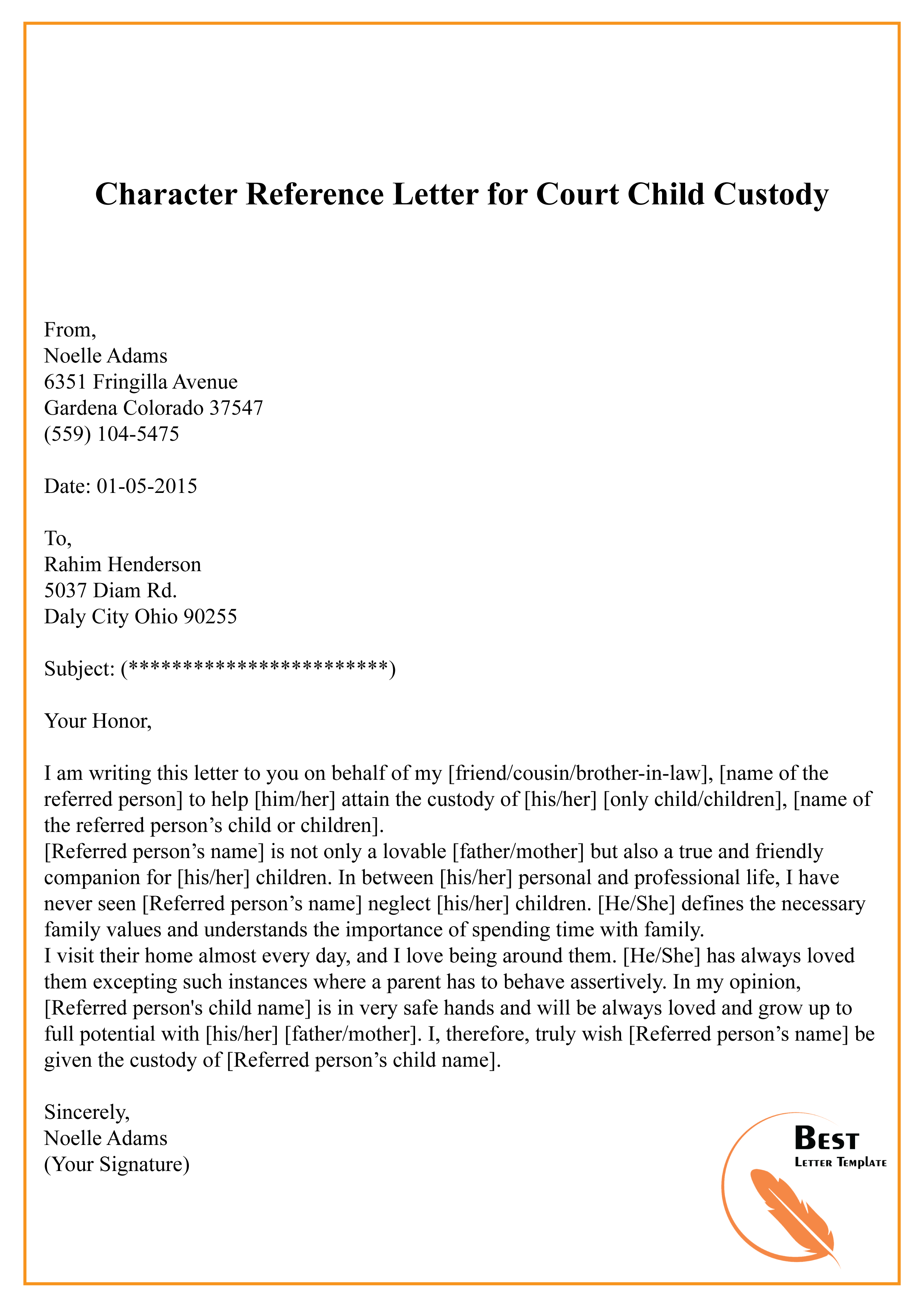 letter template for court  Character Reference Letter for Court Child Custody-15 | Best ...