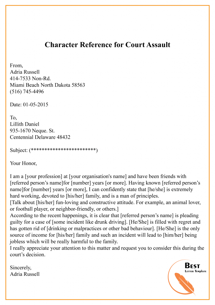 character reference letter for court template  u2013 sample