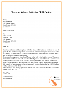 Character Witness Letter for Child Custody