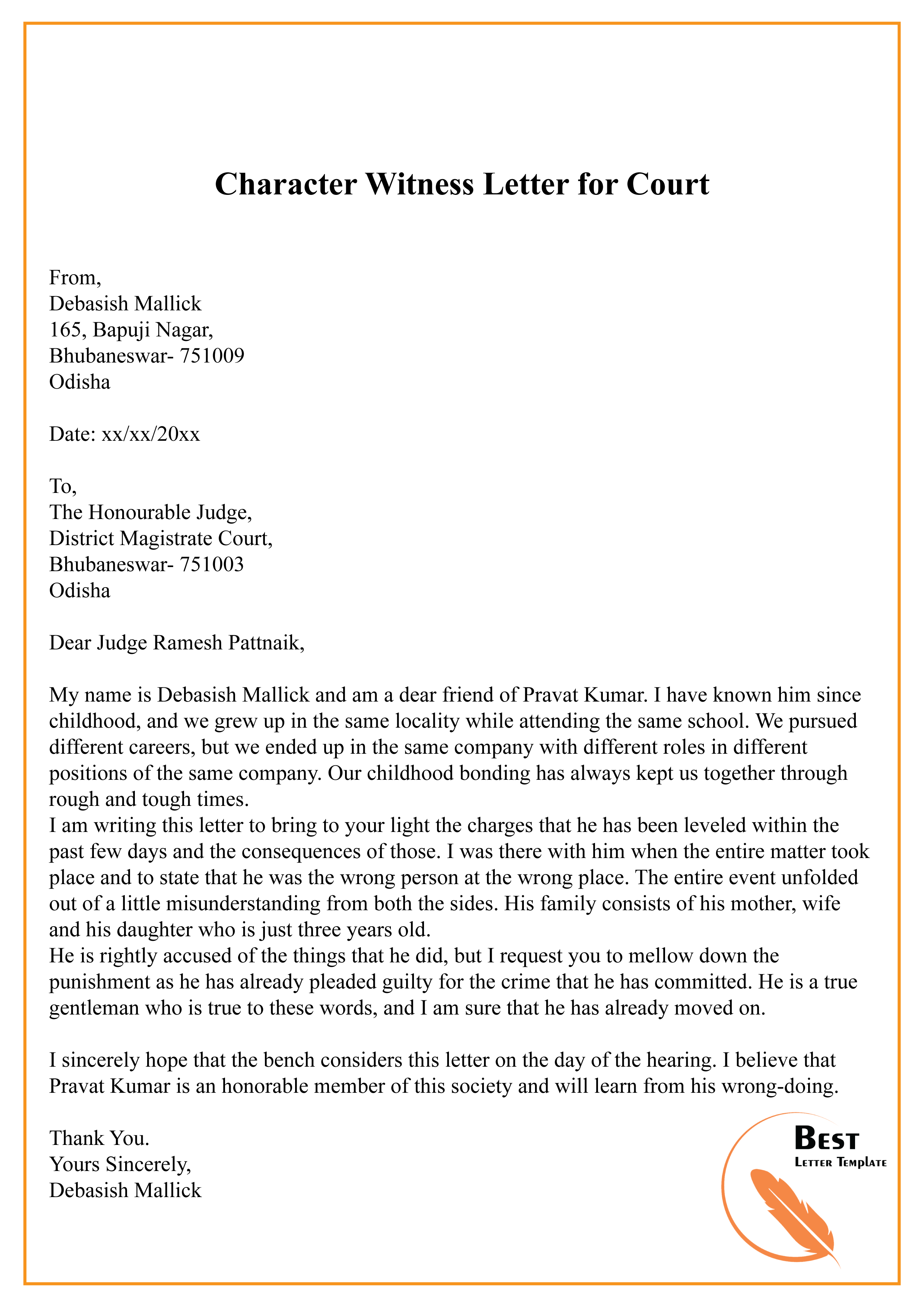 Witness Letter For Court from bestlettertemplate.com