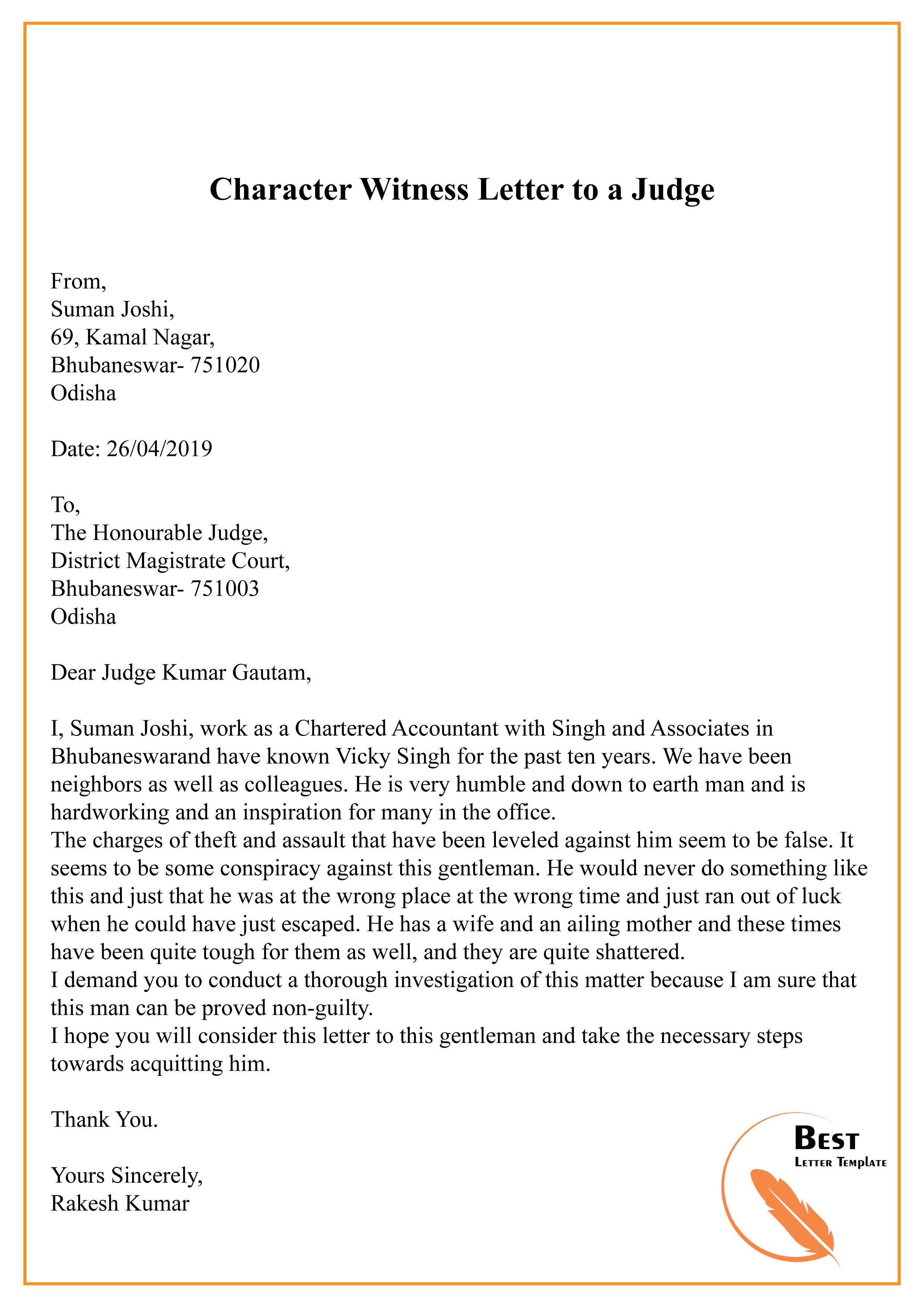 Character Letter For Judge from bestlettertemplate.com