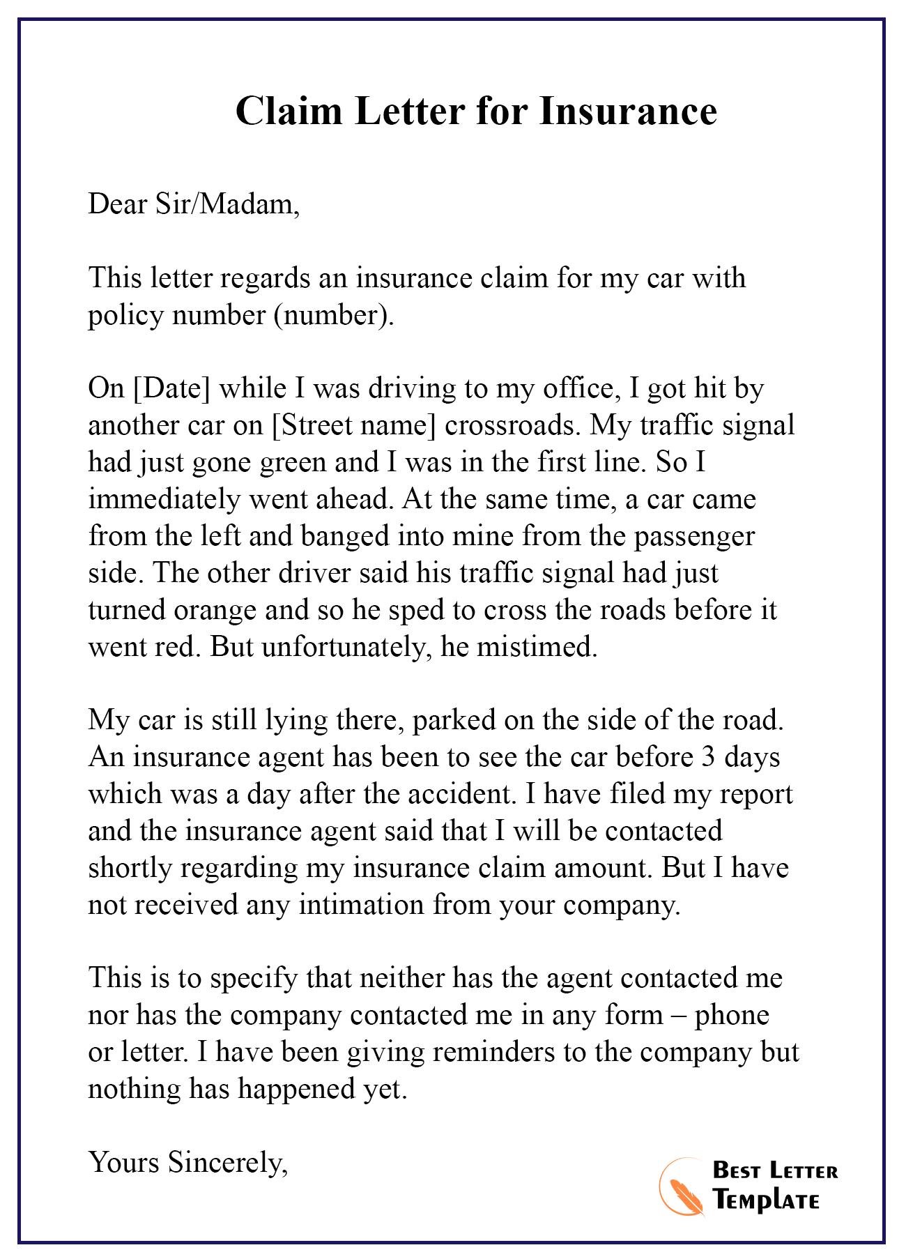Claim-Letter-for-Insurance - Best Letter Template