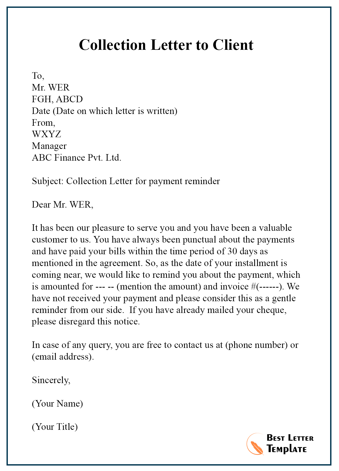Collection Letter Template Free from bestlettertemplate.com
