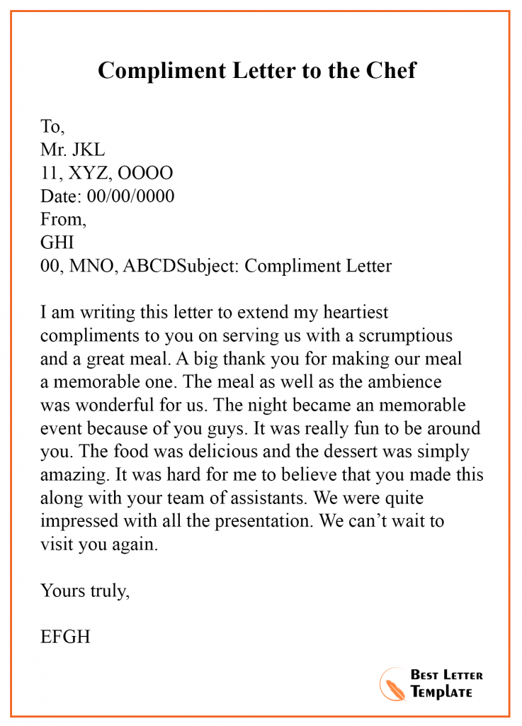Compliment Letter Template