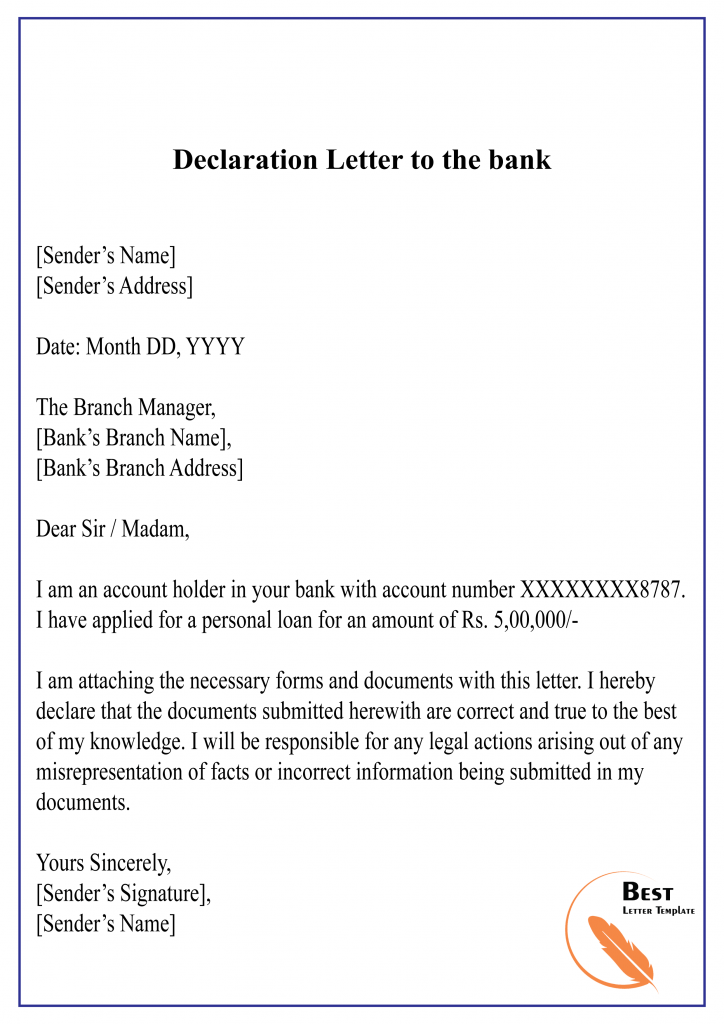 Declaration Letter to the bank