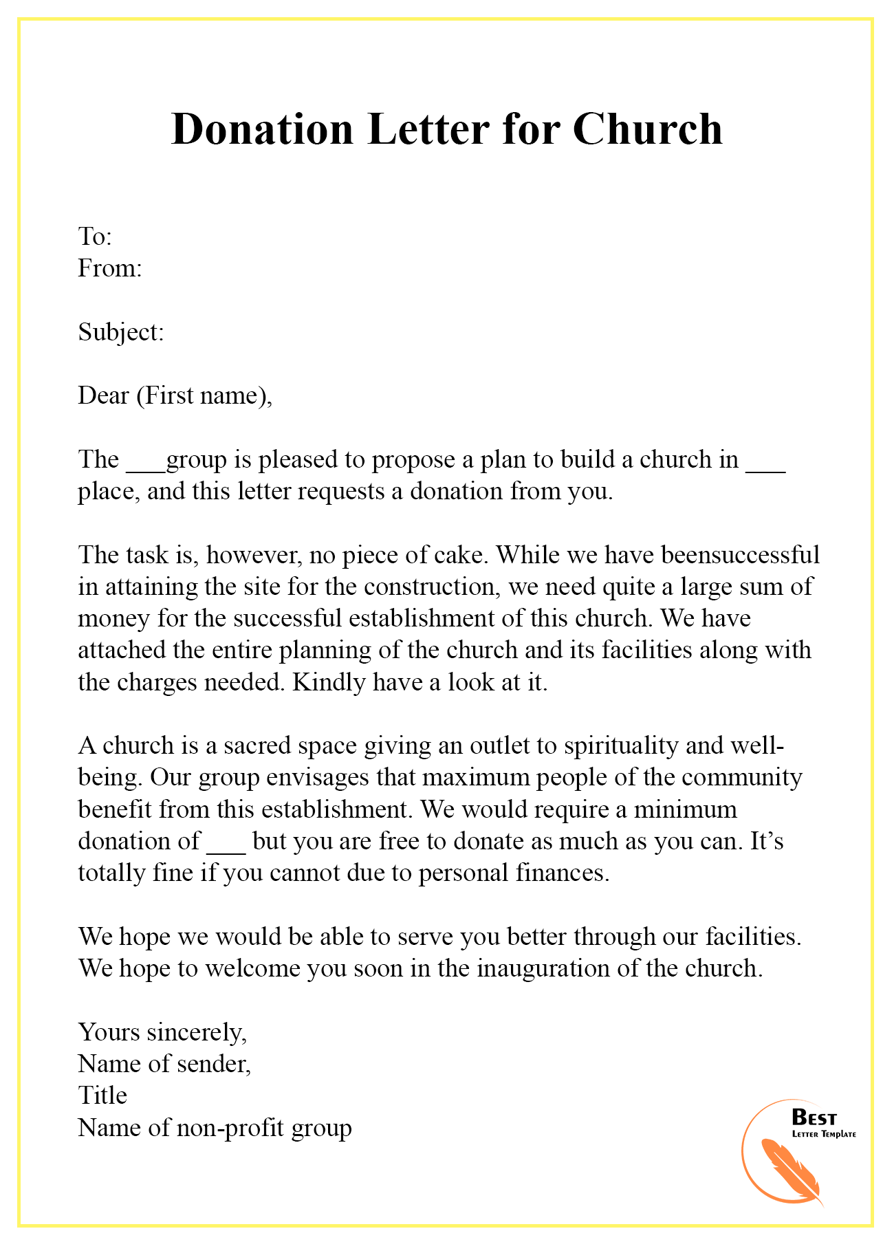 Donation Letter For Church