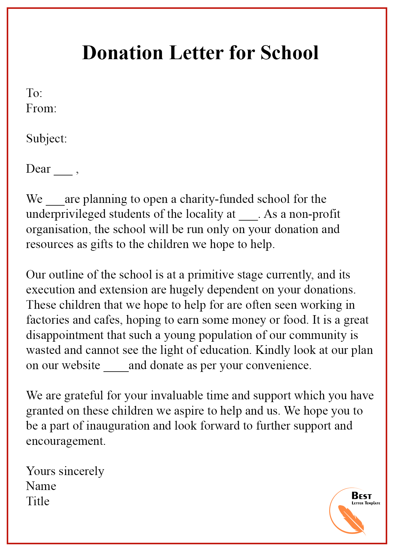 Donation Letter For School