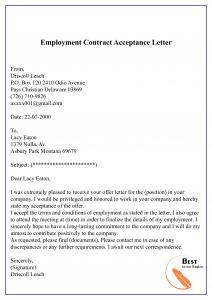 Employment Contract Acceptance Letter
