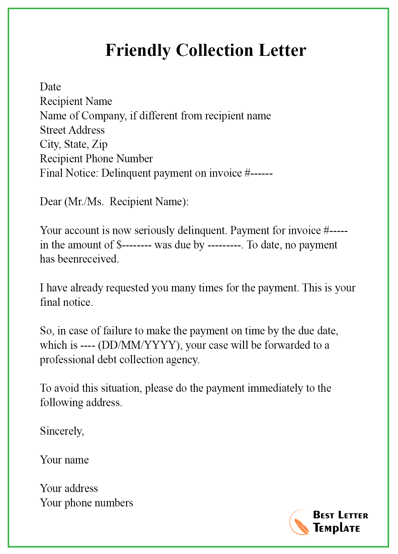 Collection Letter Template   Letter