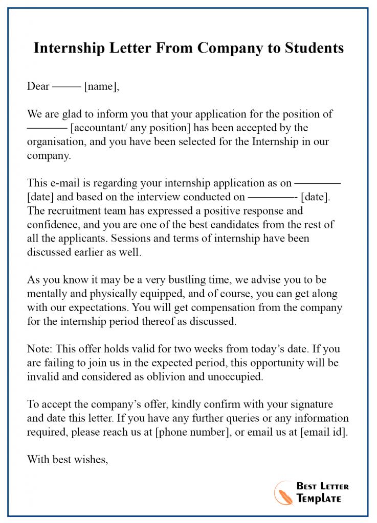 Internship Acceptance Letter Template