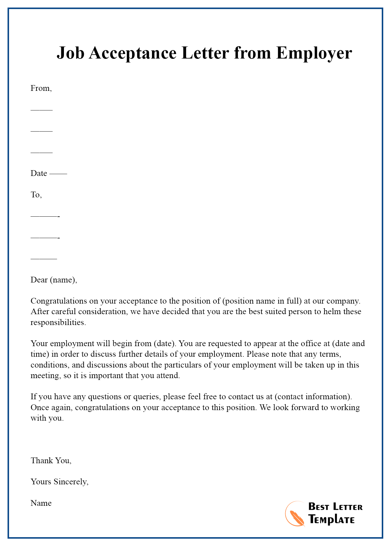 Letter Of Job Acceptance from bestlettertemplate.com