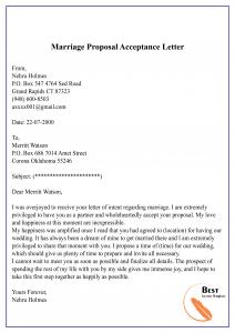 Marriage Proposal Acceptance Letter