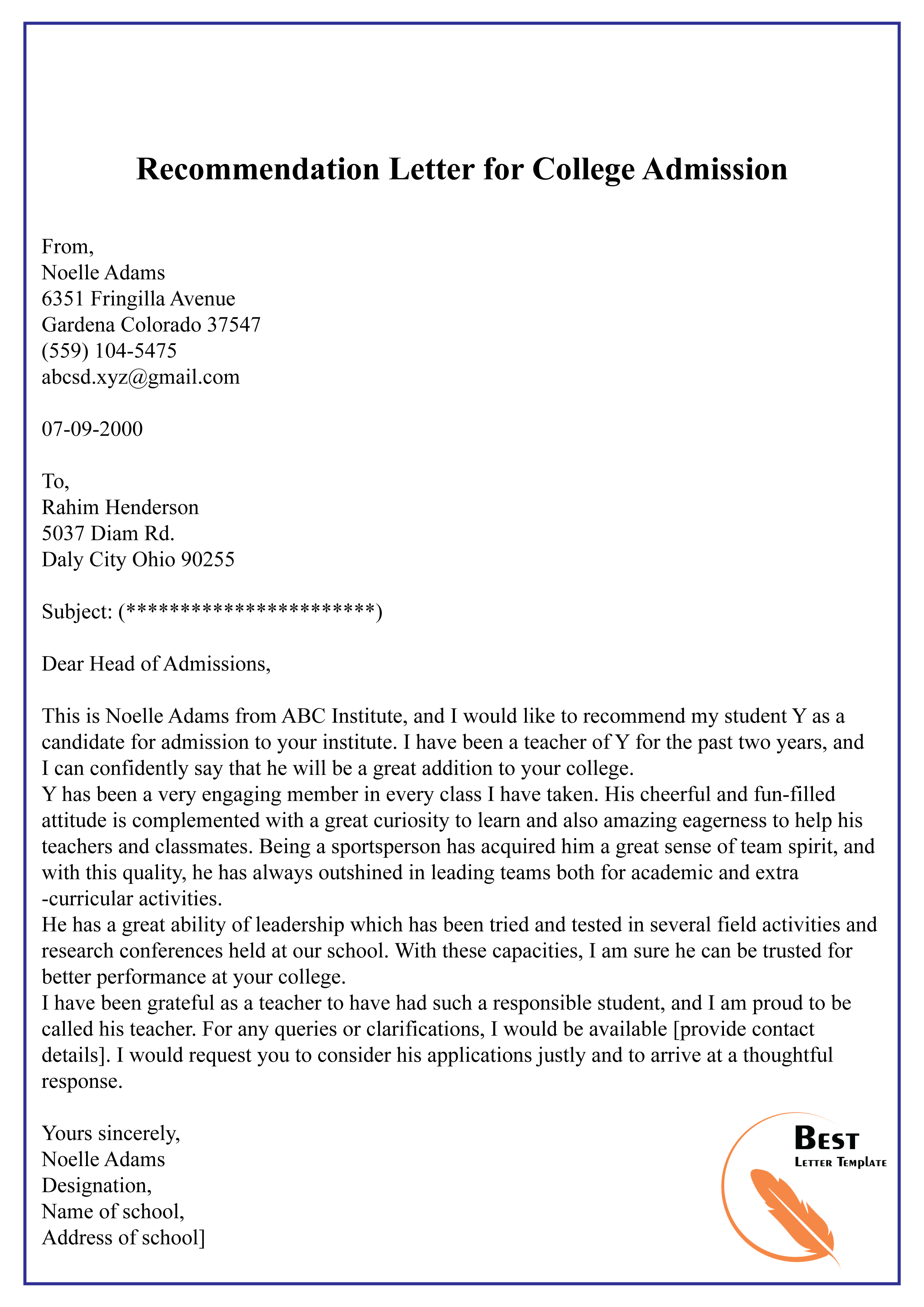 Writing a college application letter of recommendation