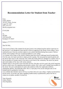 Recommendation Letter for Student from Teacher