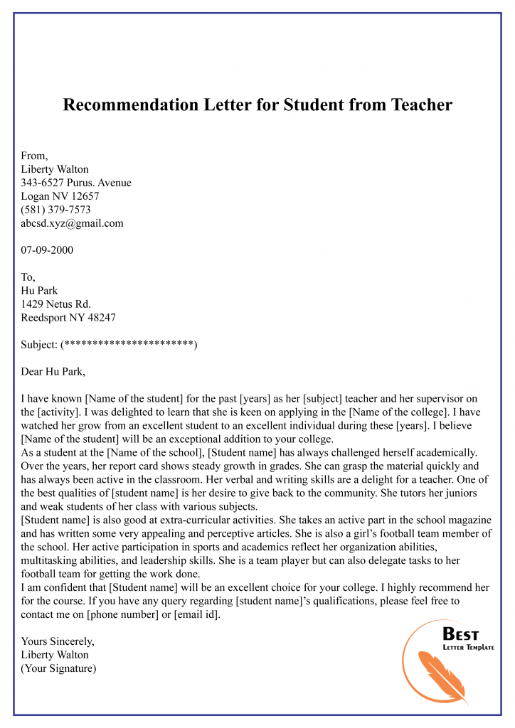 Student Teacher Letter Of Recommendation from bestlettertemplate.com