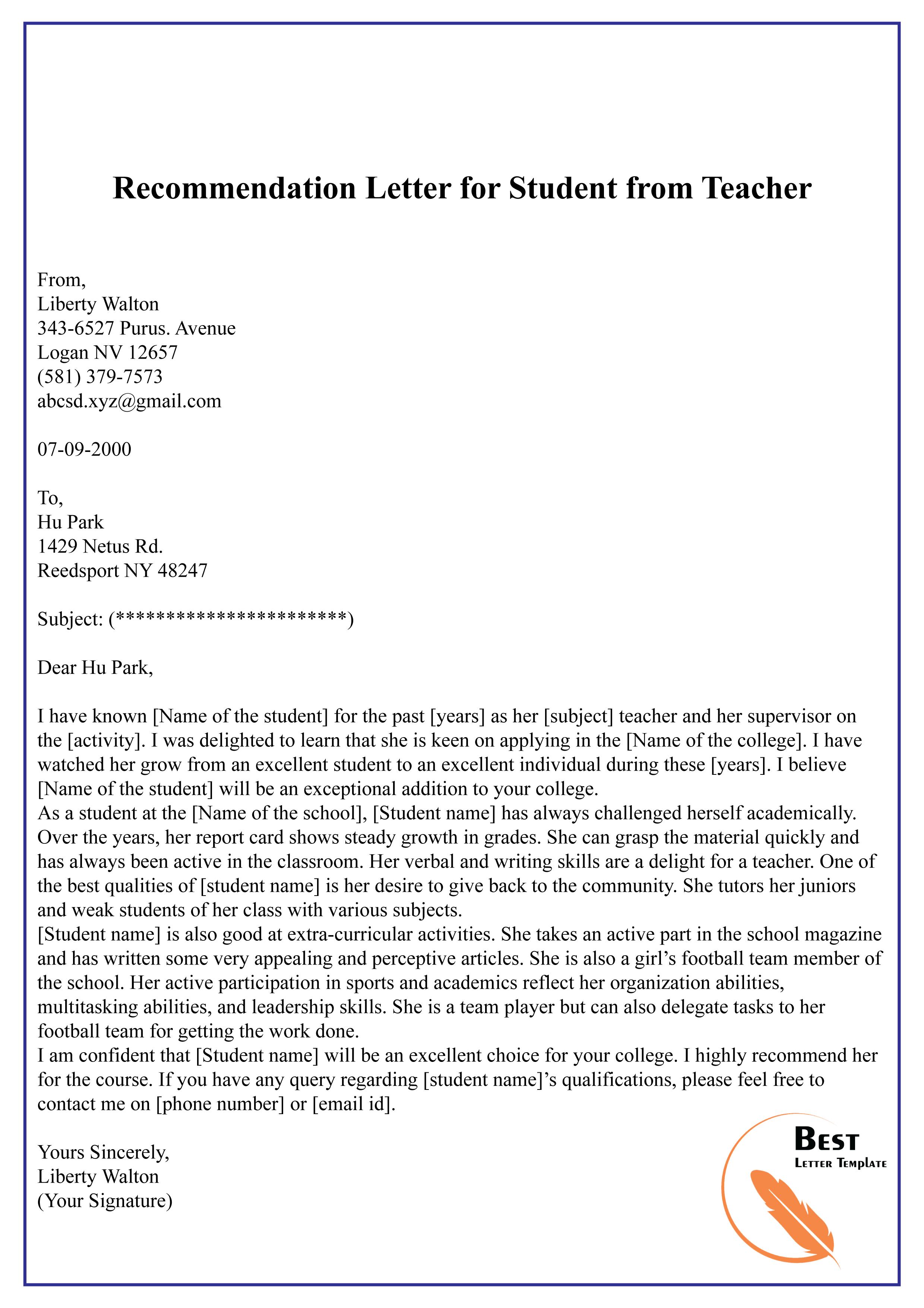 Letter Of Recommendation Template Teacher from bestlettertemplate.com
