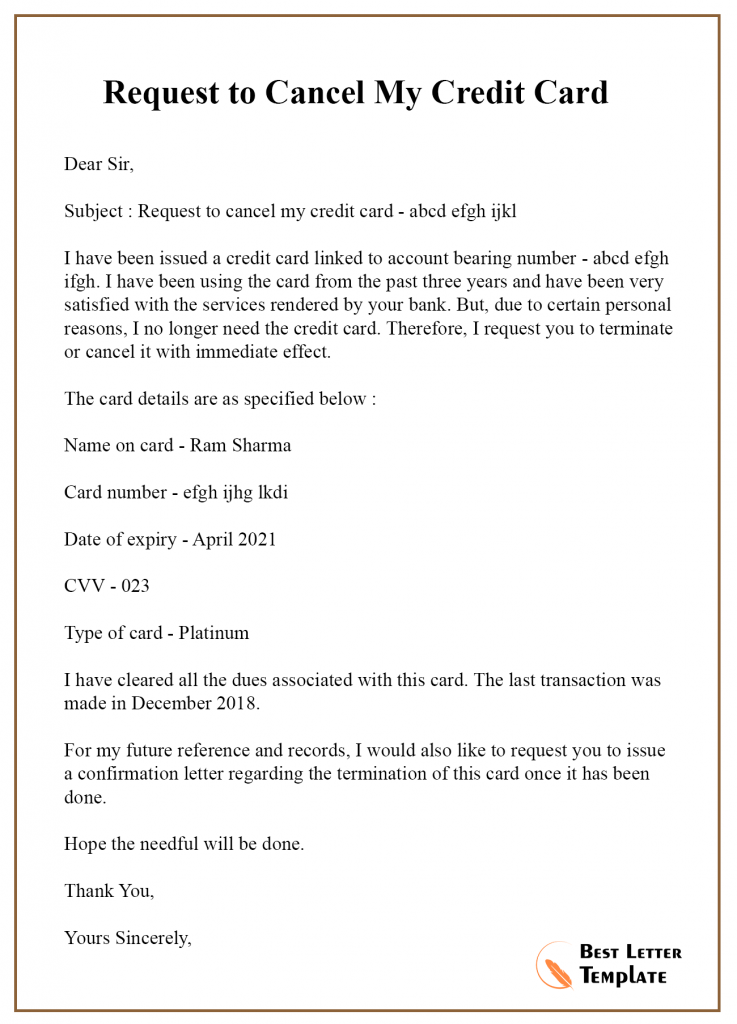 Cancellation Letter Template for Credit Card