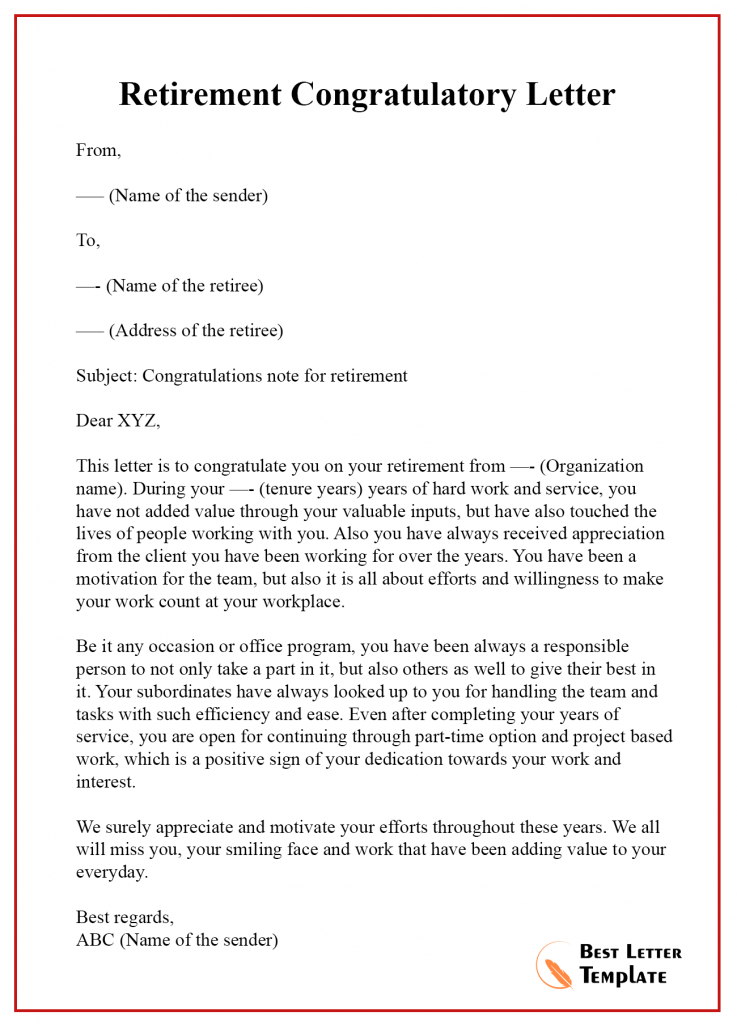 Congratulation On Your Retirement Letter from bestlettertemplate.com