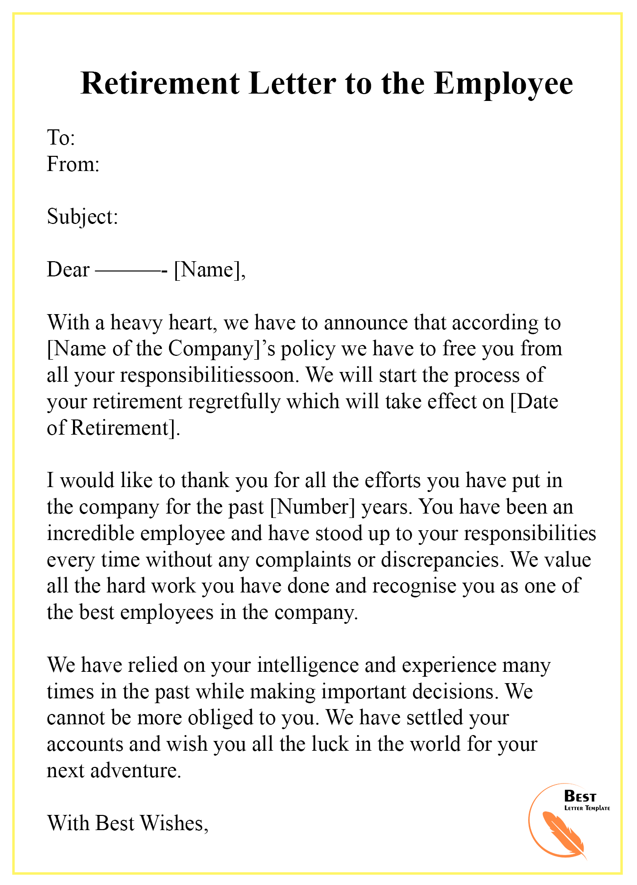 Retirement Letter To Employee From Employer from bestlettertemplate.com