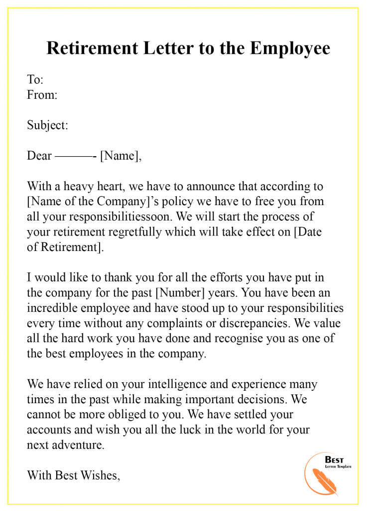 Retirement Letter Template to employee