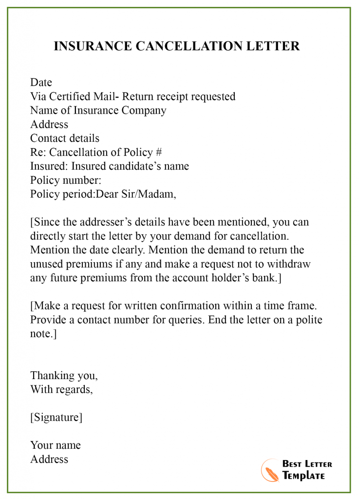 Cancellation Letter Template
