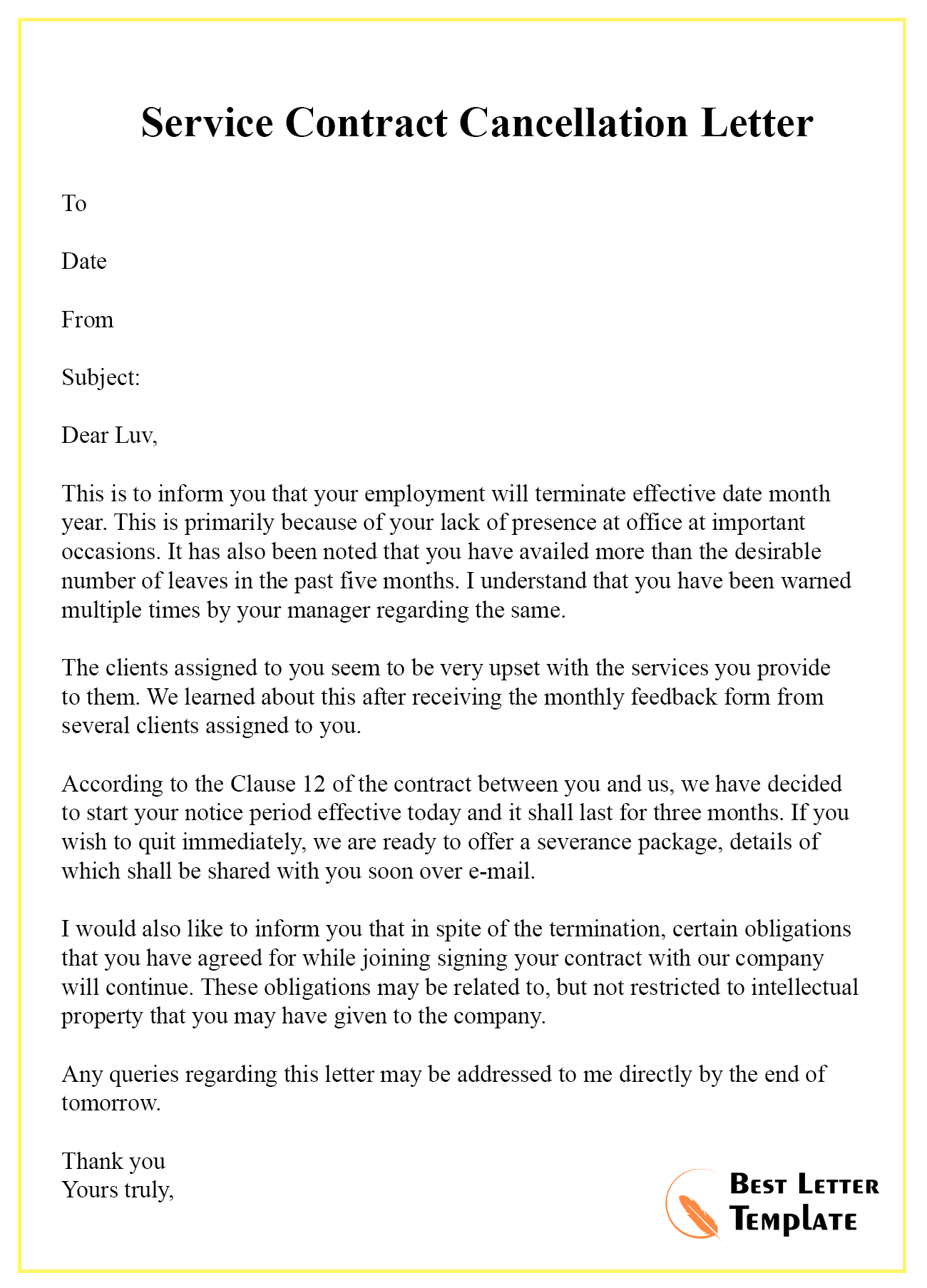 Sample Business Agreement Letter from bestlettertemplate.com