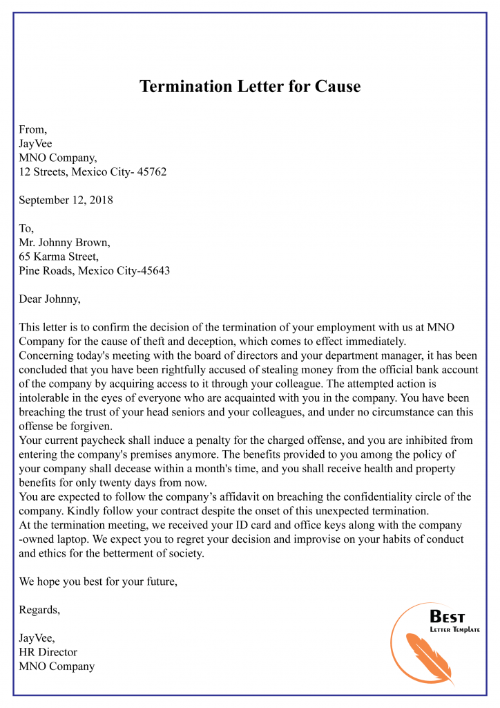 Sample Termination Letter For Misconduct from bestlettertemplate.com