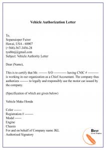 Vehicle Authorization Letter