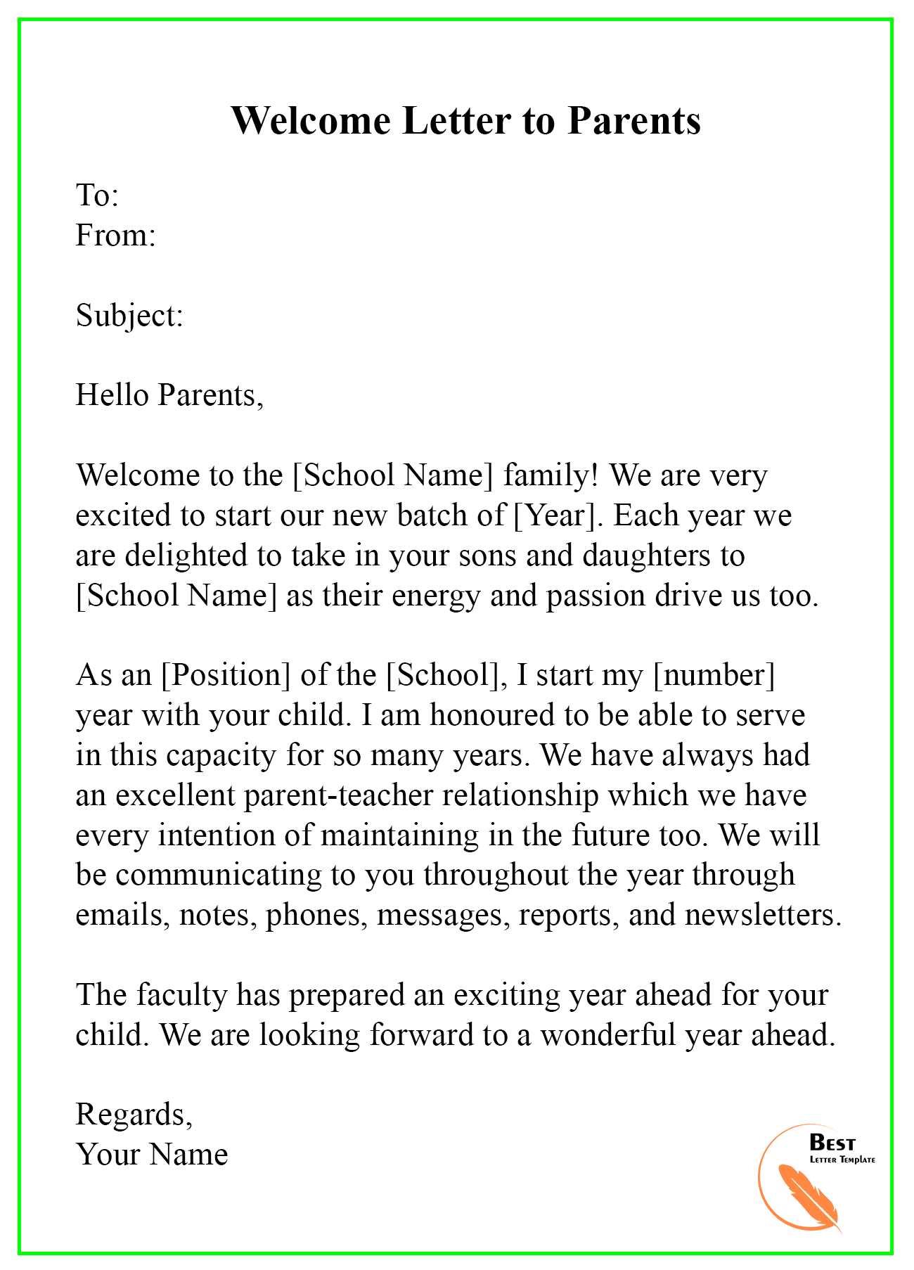 Welcome Letter Template – Format, Sample & Example | Best