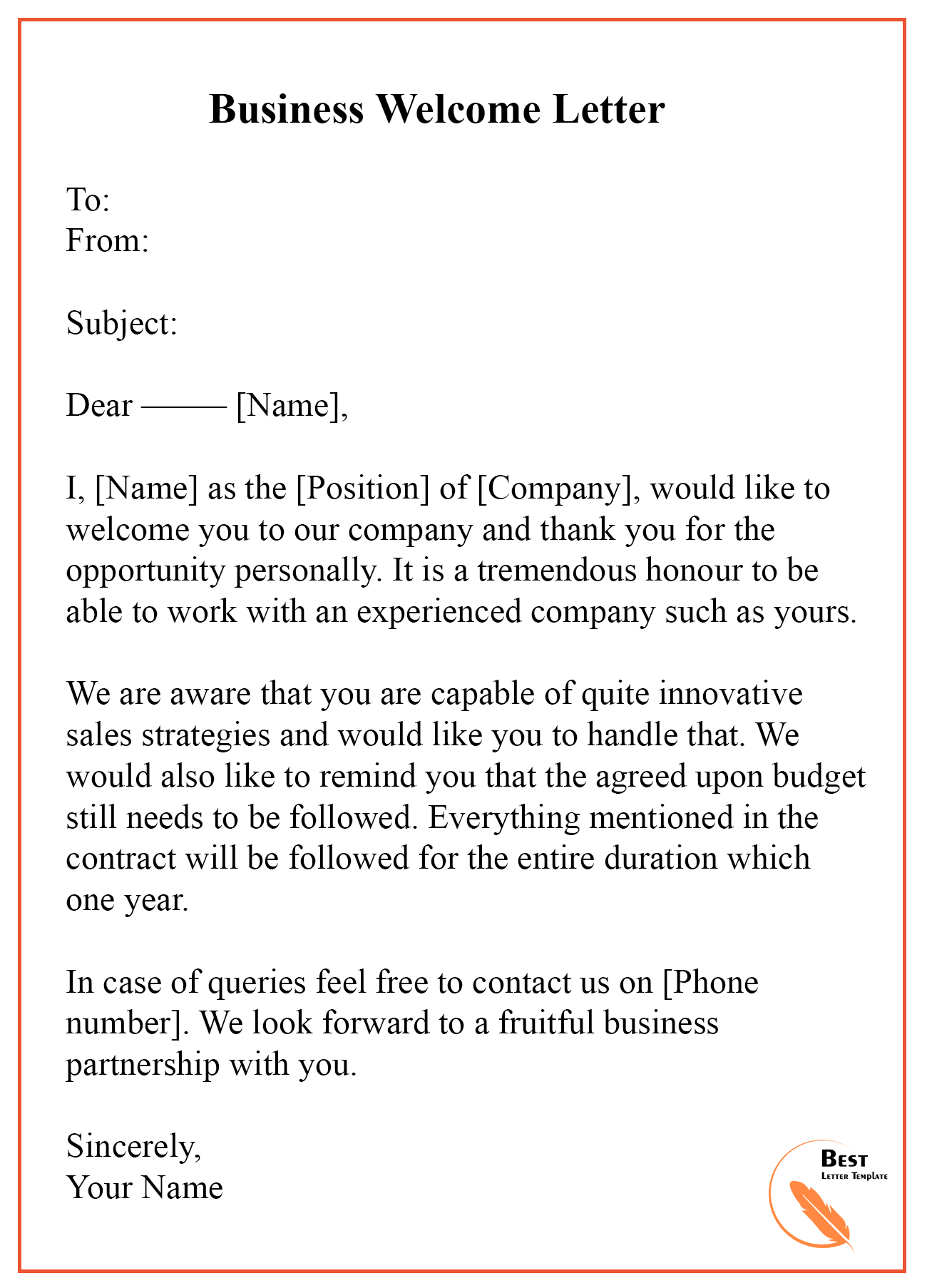 welcome letter template  u2013 format  sample  u0026 example