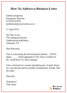 how to address a business letter