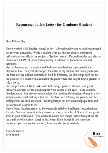 recommendation letter for graduate student
