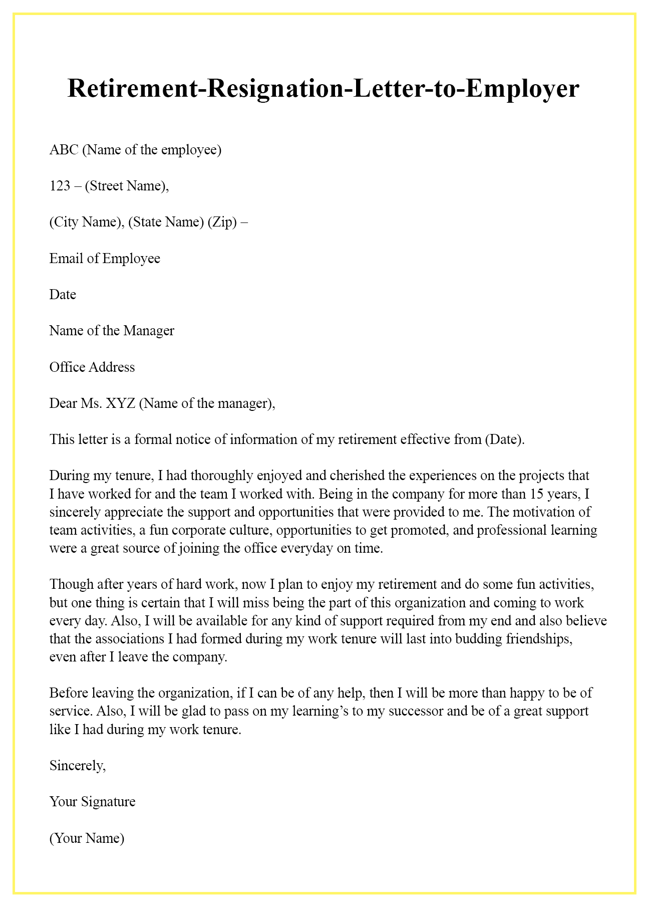 retirement-resignation-letter-to-employer | Best Letter Template