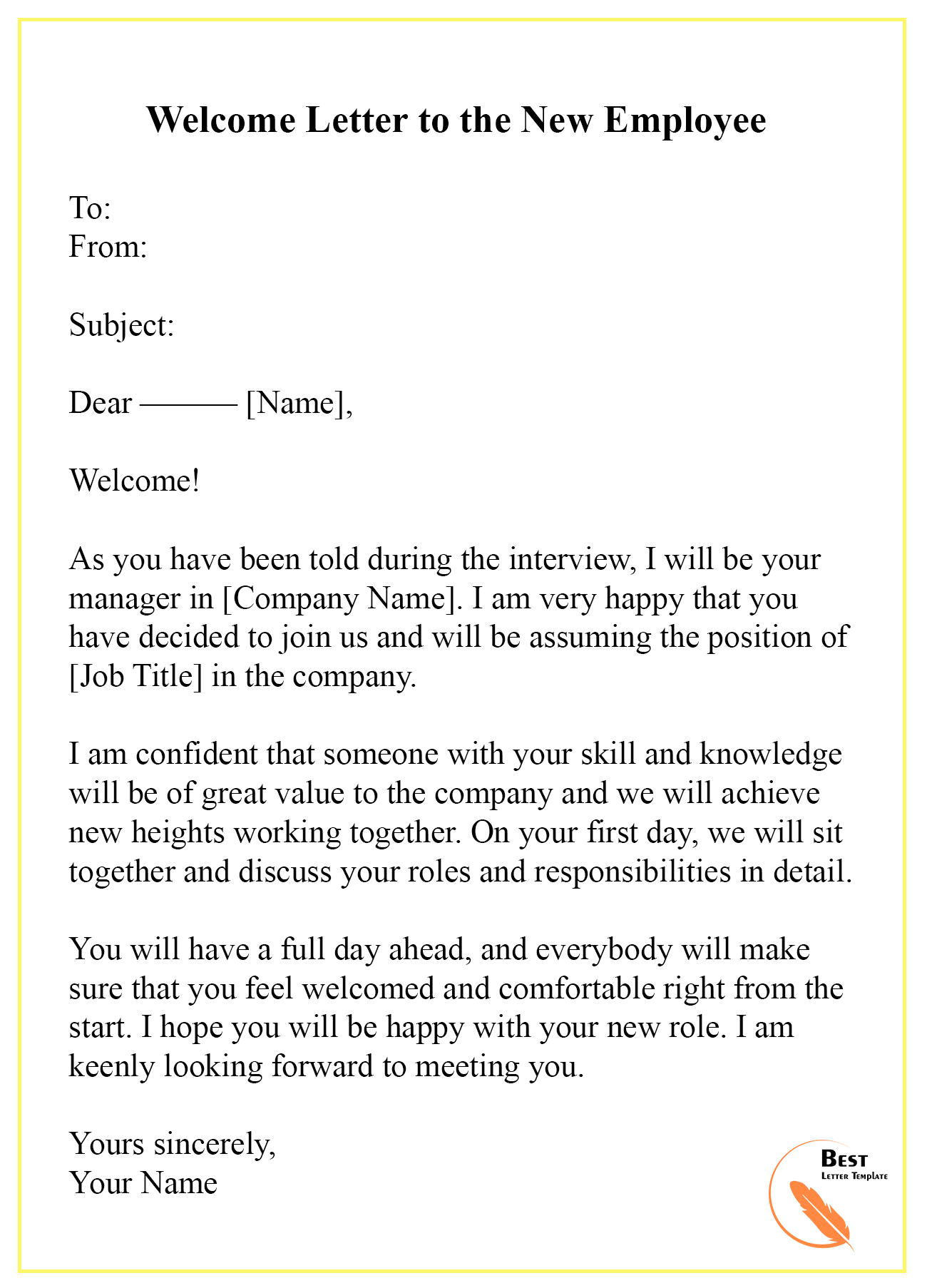 New Employee Welcome Letter Sample from bestlettertemplate.com