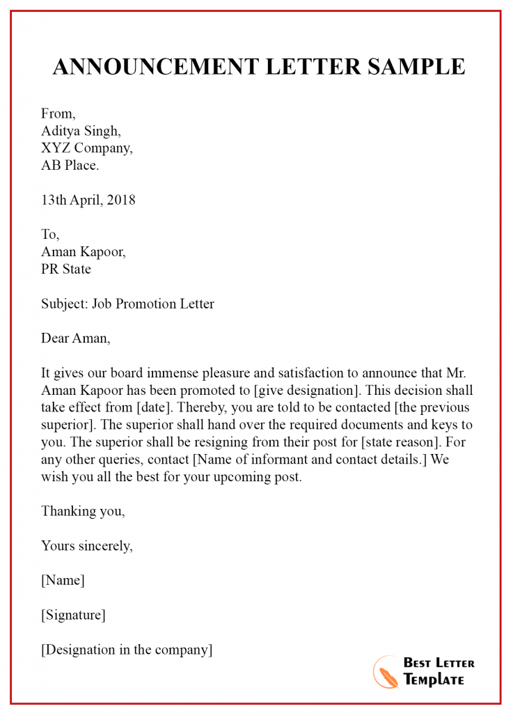 Announcement Letter Template