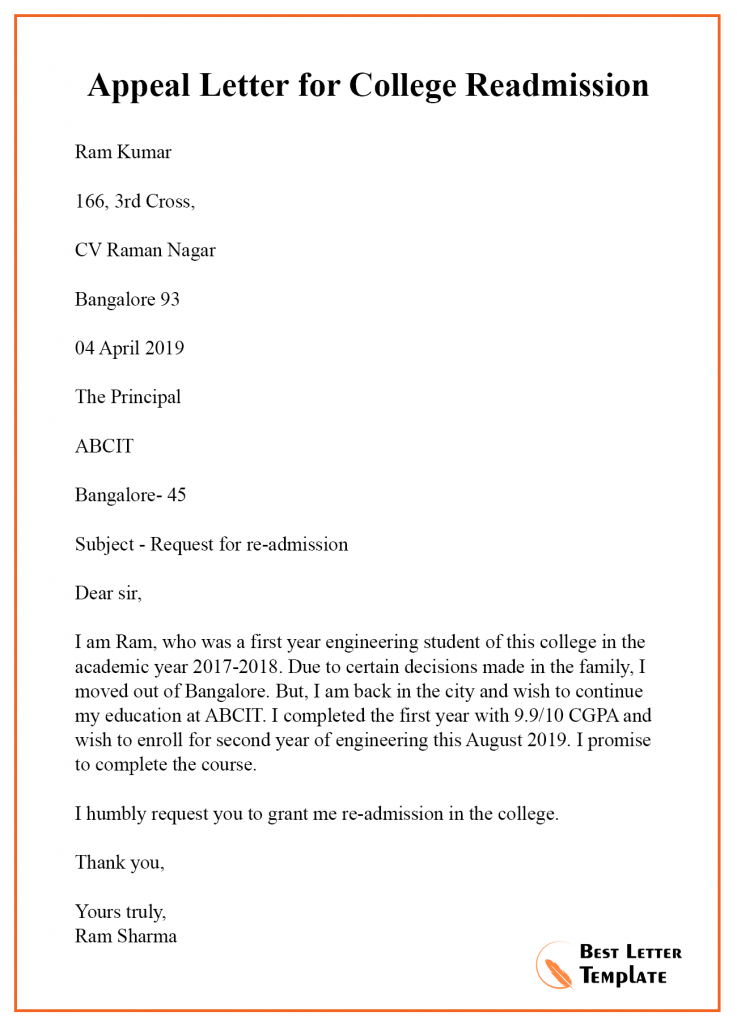 College Admission Letter Sample from bestlettertemplate.com