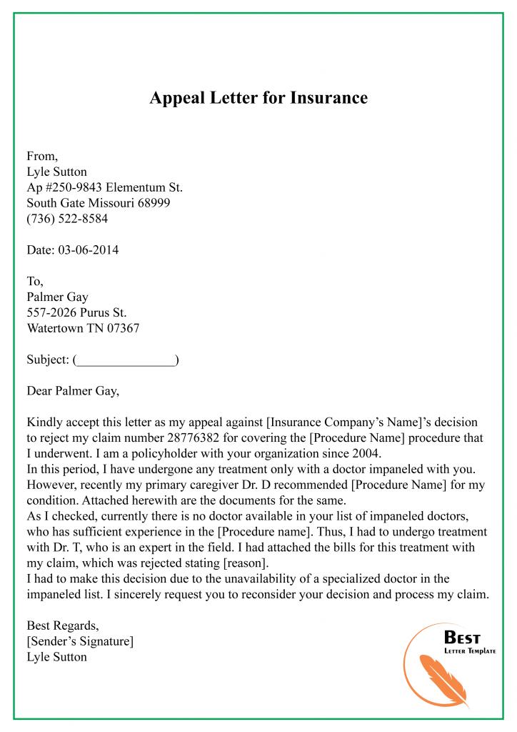 Appeal Letter for Insurance