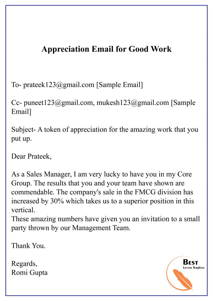 Appreciation Email for Good Work