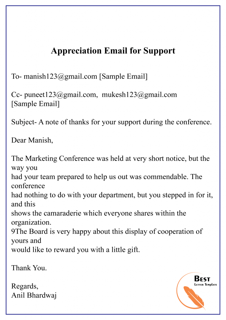 Thank You Letter For Help And Support from bestlettertemplate.com