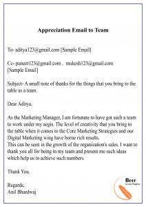 Appreciation Email to Team