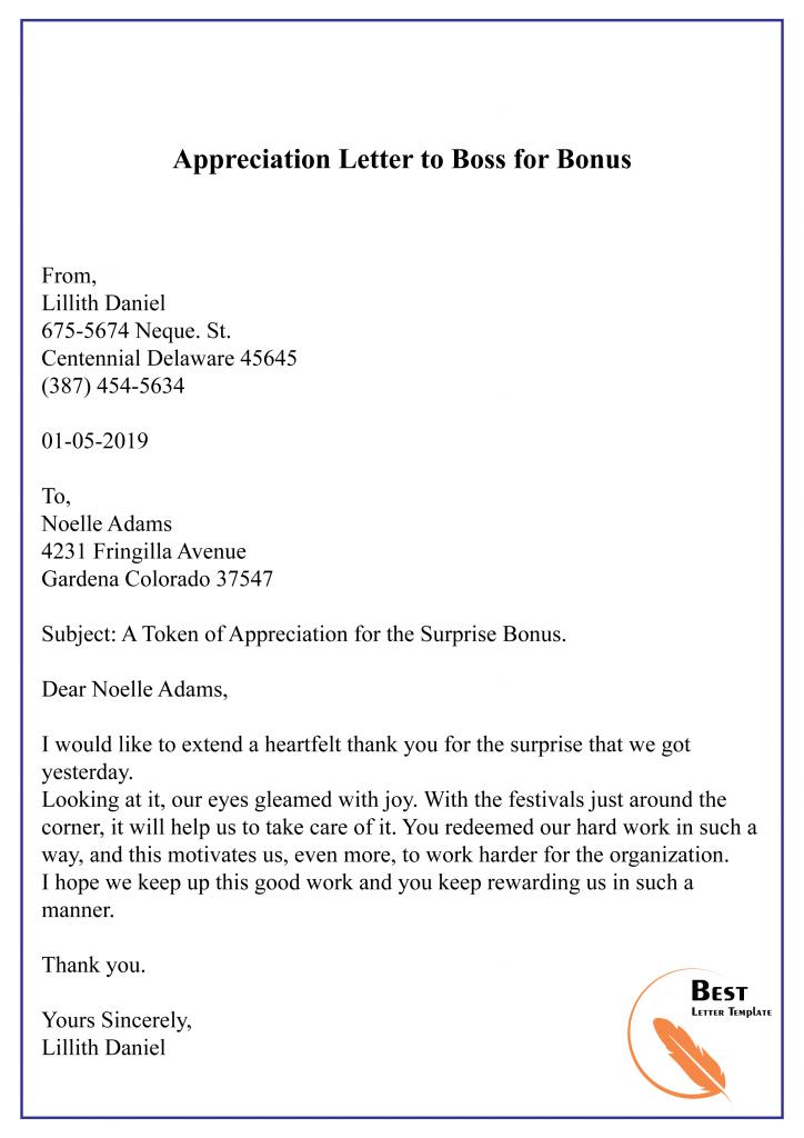 Appreciation Letter to Boss for Bonus