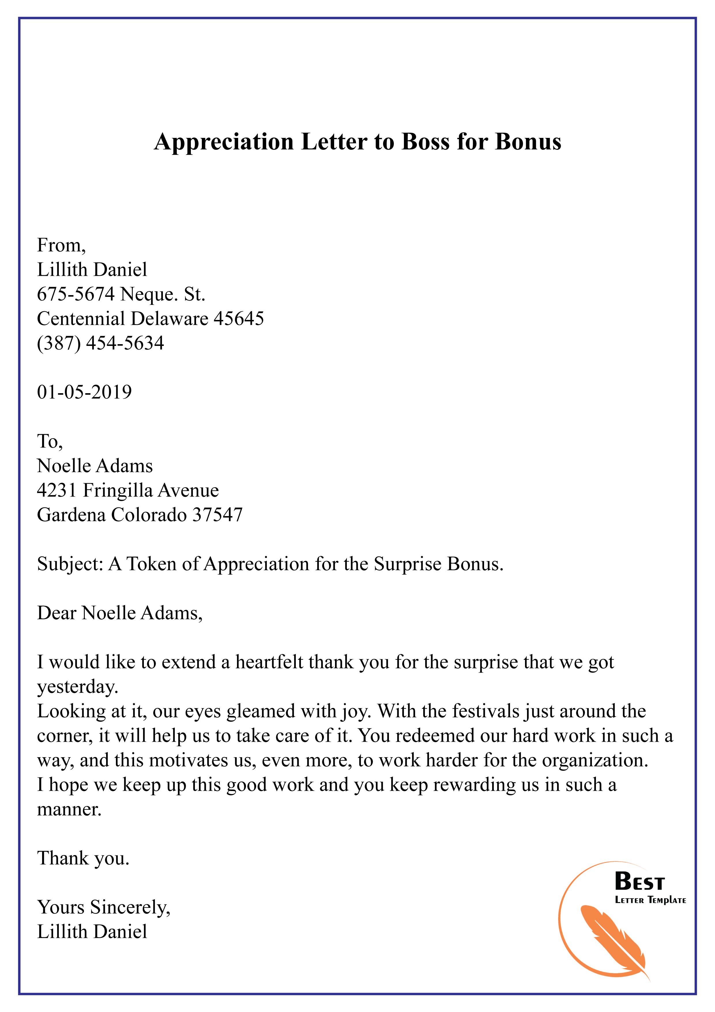 Appreciation Letter To Boss For Bonus 01 Best Letter