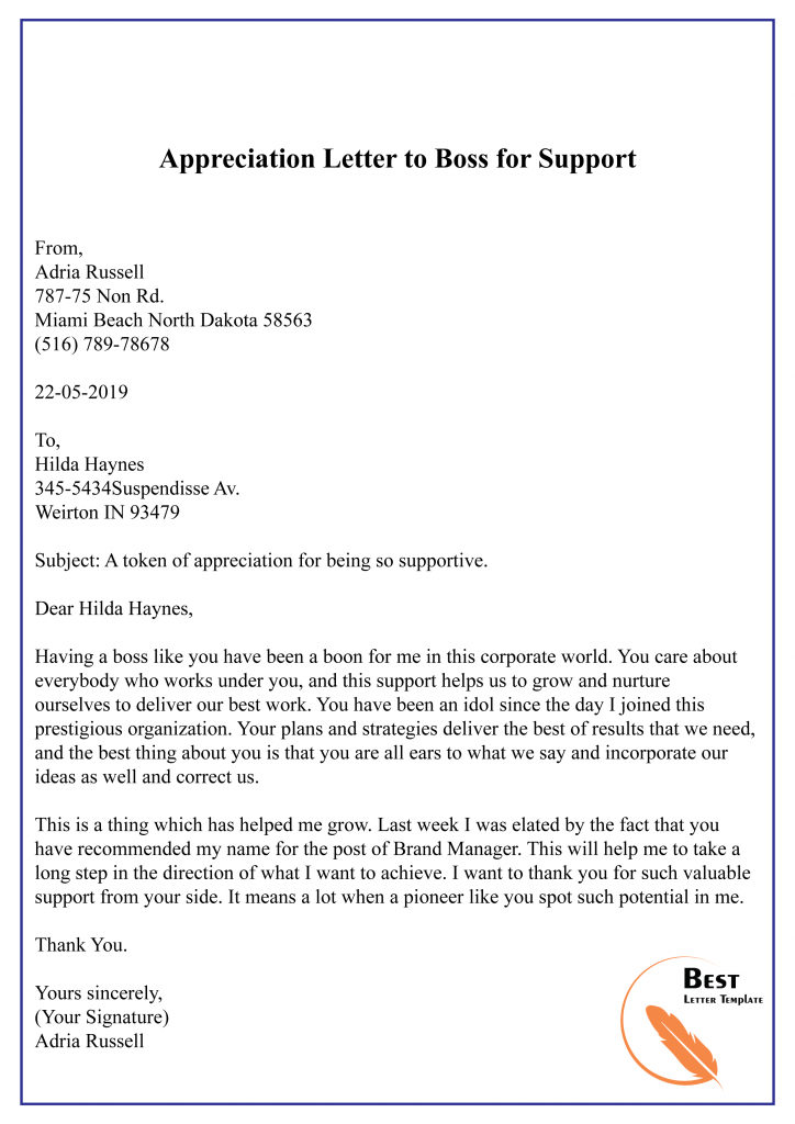 Appreciation Letter to Boss for Support