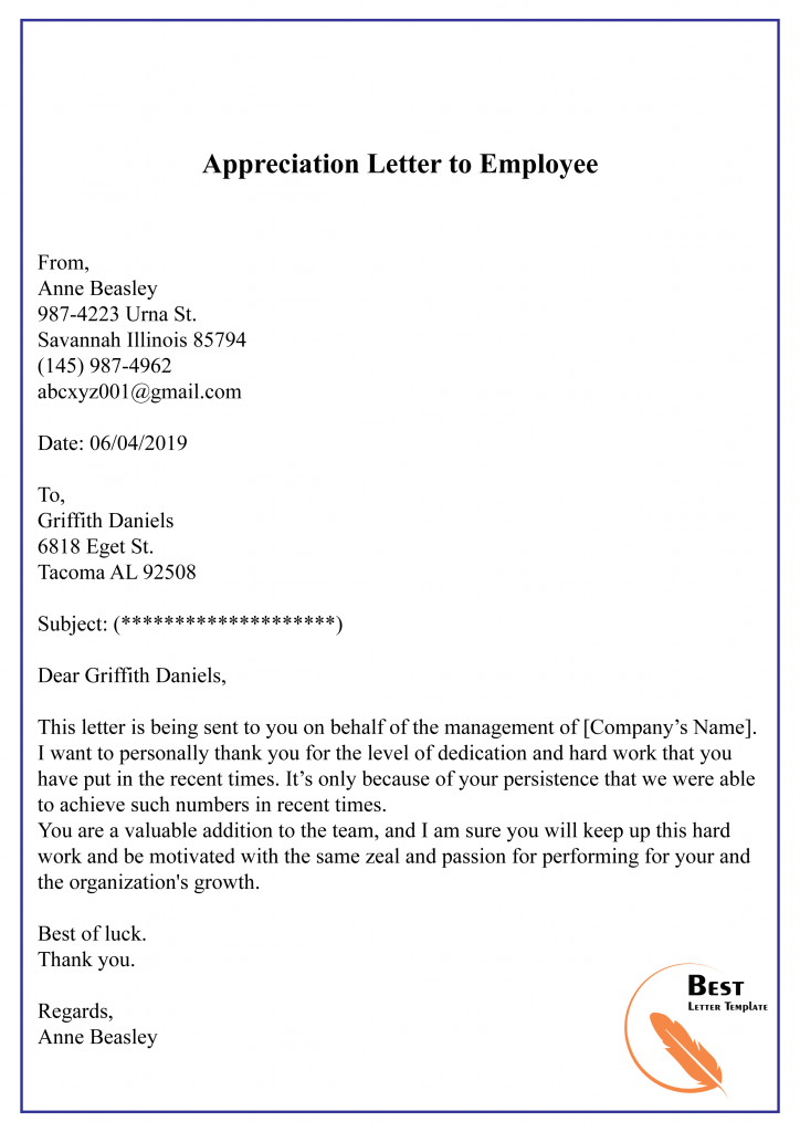 Appreciation letter sample to Employee