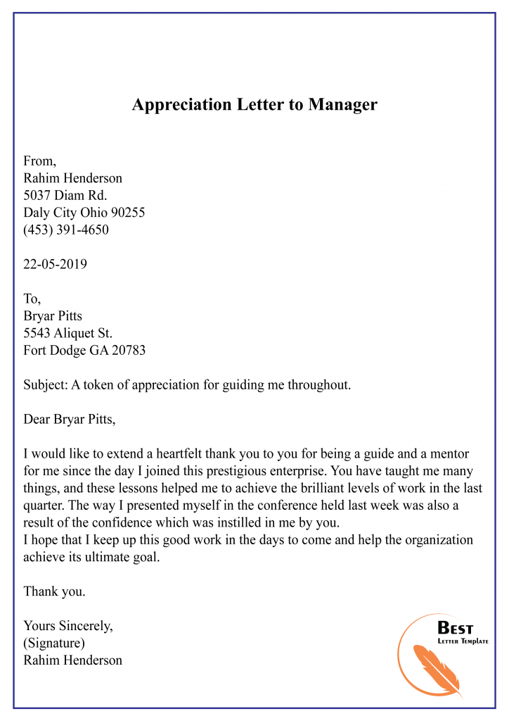 Appreciation Letter to Manager